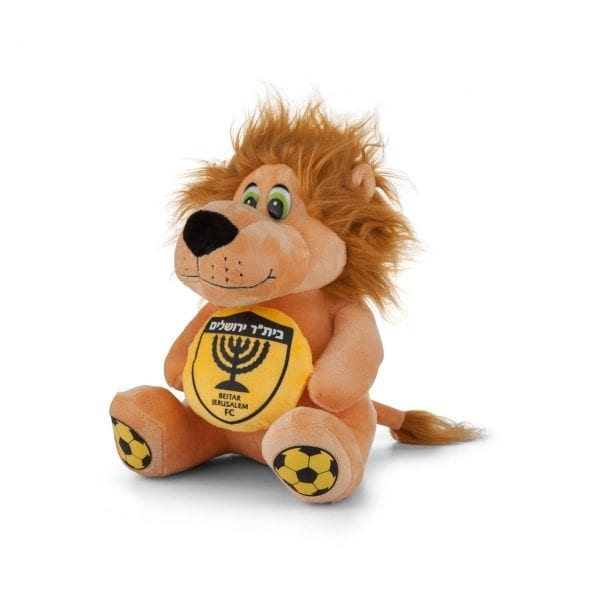 """הקמע של בית""""ר ירושלים. בובת אריה עשוייה פרווה. גובה 25 ס""""מ."""